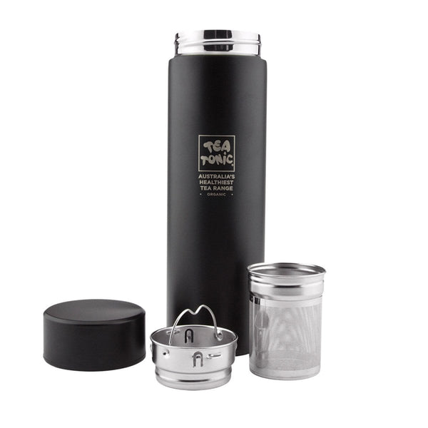 Tea Tonic Thermal Drink Bottle Black (Double wall stainless steel + Infuser basket) 450ml