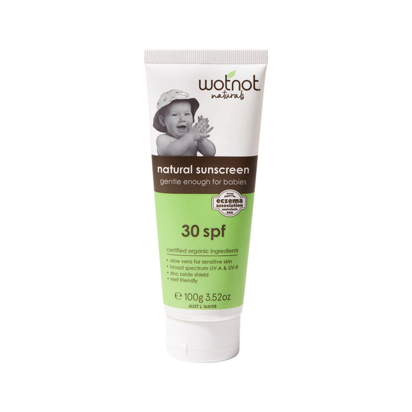 Wotnot Natural Sunscreen 30 SPF 100g Green, Brown and White Tube