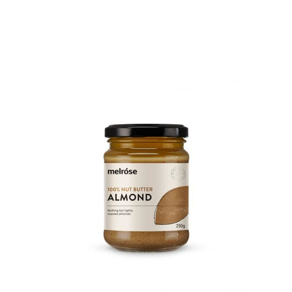 Melrose 100% Nut Butter Almond 250g in a glass jar. Healthy vegan spread or dip to use with vegan snacks | The Vegan Town