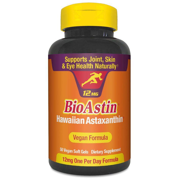 BioAstin Hawaiian Astaxanthin Vegan Caps (12mg) 50 in an orange bottle with yellow lid. Vegan Health and Supplements | Online Vegan Store