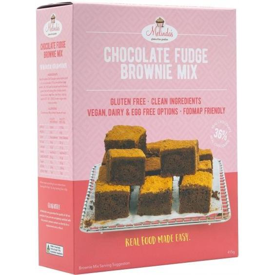 Melindas Choc Fudge Brownie G/F Pre-Mix 415gm