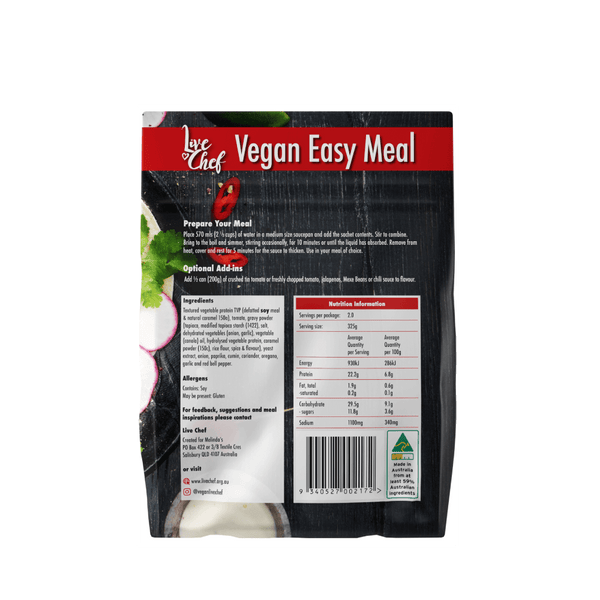 Live Chef Vegan Easy Meal Mexican 150g back of packet with nutritional information and ingredients listed.