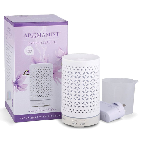 Aromamatic Aromamist Ultrasonic Ceramic Mist Diffuser - Mistique with box and water jug plus power adaptor plug