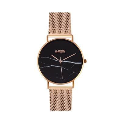 La Enviro Rose Gold Stainless Strap Watch with a Classic Black Face