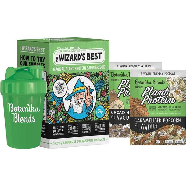 Botanika Blends The Wizard's Best Plant Protein Sampler Box 10x40g plus a shaker and sachet samples