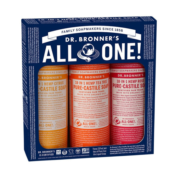 Dr. Bronner's Pure-Castile Soap Liquid Summer Lovin' 237ml x 3 Pack (Citrus, Rose & Tea Tree)