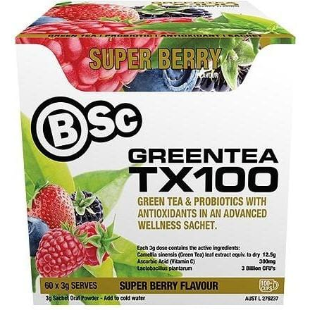 BSc Green Tea TX100 Superberry 60 sachets each with 3g | Vegan Supplements | Online Vegan Store