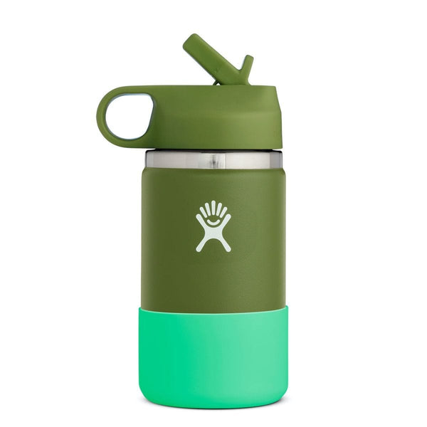 Hydro Flask Wide Mouth Kids Bottle - Straw Lid 354ml Green Olive | Eco Products Online