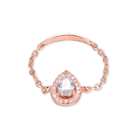 ASHLEY - Bague chaîne goutte rosé