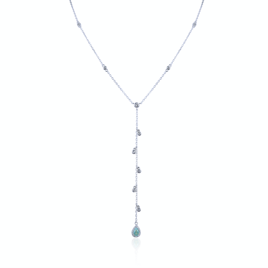 LIYA - Collier diams & goutte argent - N&L jewels