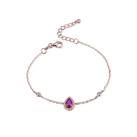 AMBRE - Bracelet goutte purple rosé - N&L jewels