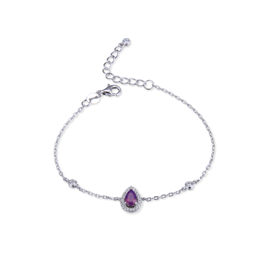 AMBRE - Bracelet goutte purple argent - N&L jewels