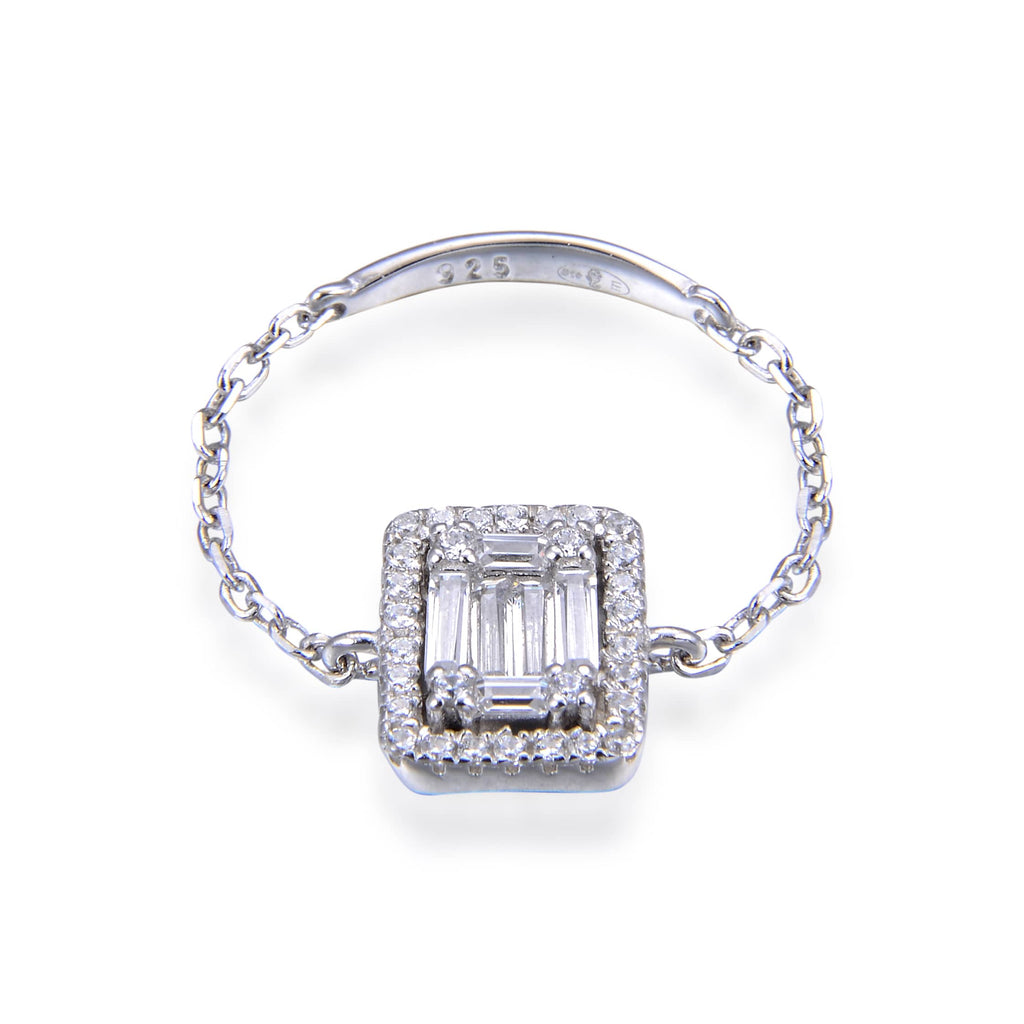 LEA - Bague chaîne rectangle argent - N&L jewels