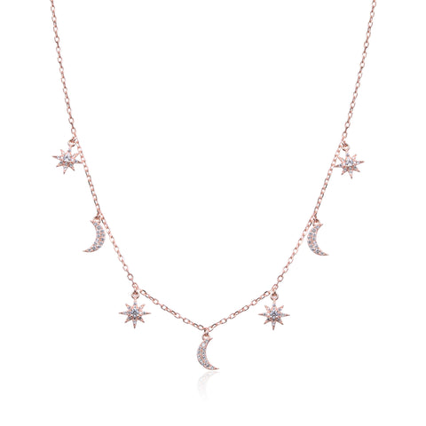 SACHA - Collier lunes & flocons rosé - N&L jewels