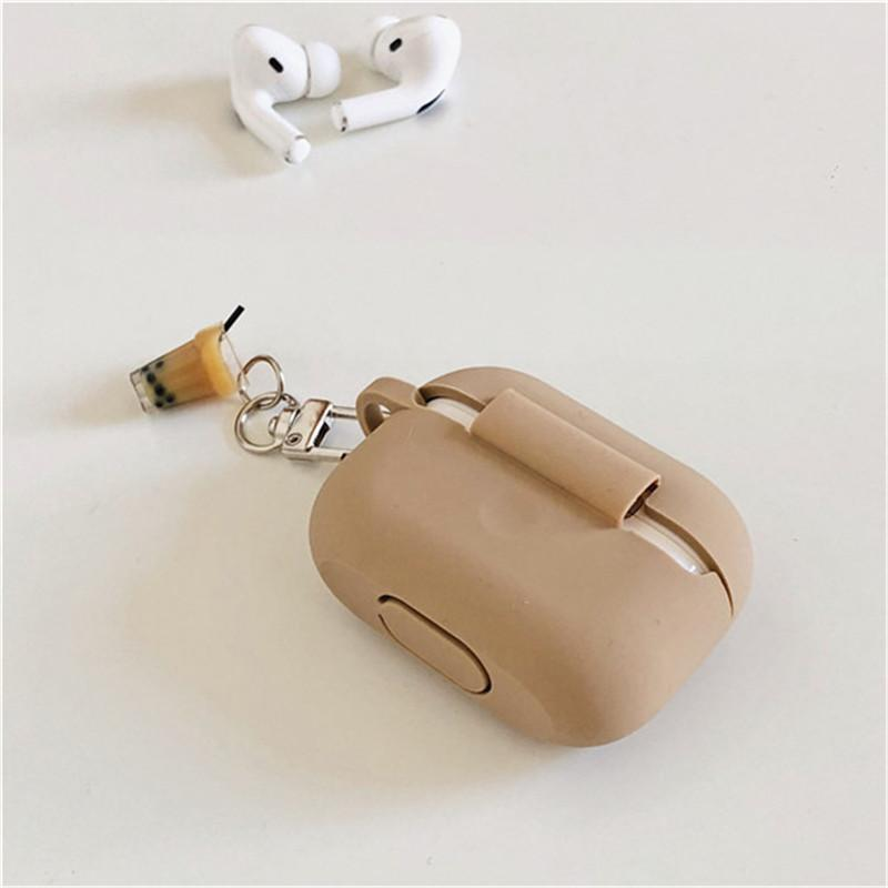 AirPods Pro Case 3D Cartoon Cute Korean milk tea cup Wireless Earphone silicone Cover for Apple AirPods pro 3 Air pods Headset keychain case