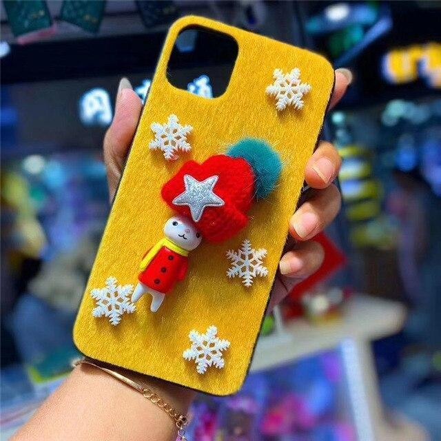 Iphone 11 3D Plush Christmas Moose Phone Cover Case For iPhone 11 Pro MAX XSMAX XR XS X 8 7 6 6S Plus Anti-fall Case Hard Shell Coque Capa