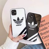 iPhone 11 Adidas Style Tempered Glass Designer iPhone Case For iPhone 11 Pro Max X XS Max XR 7 8 Plus