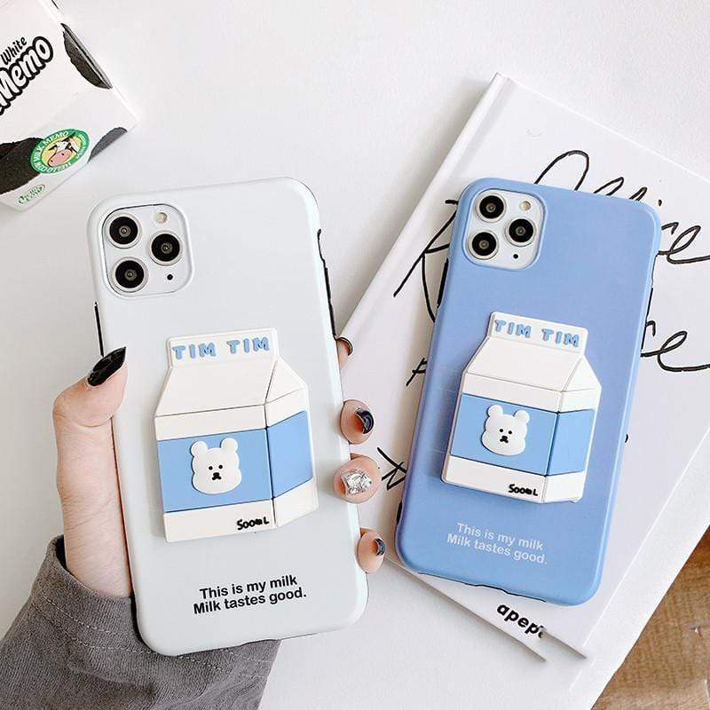 iPhone 11 Bear Milk 3D Box Silicone Shockproof Protective Designer iPhone Case For iPhone 11 Pro Max X XS Max XR 7 8 Plus