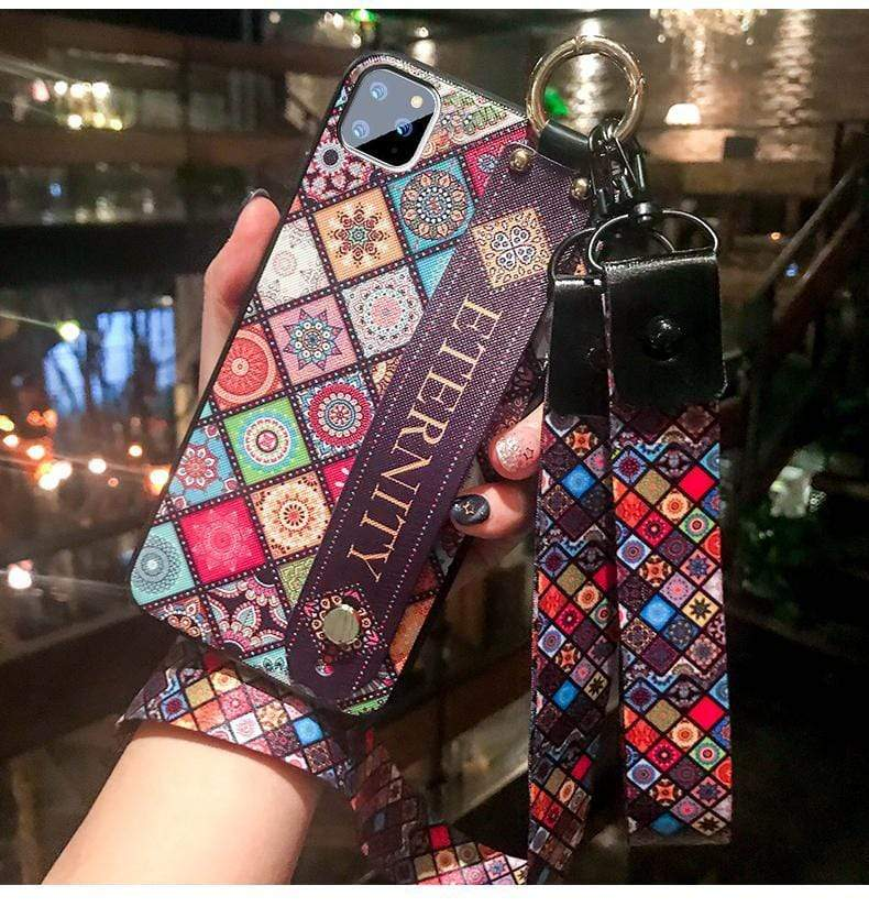 Iphone 11 Best Luxury Style Totem Rhombic Wristband Lanyard  Designer iPhone Case For Iphone 11 Pro Max X XS XS MAX XR 7 8 Plus