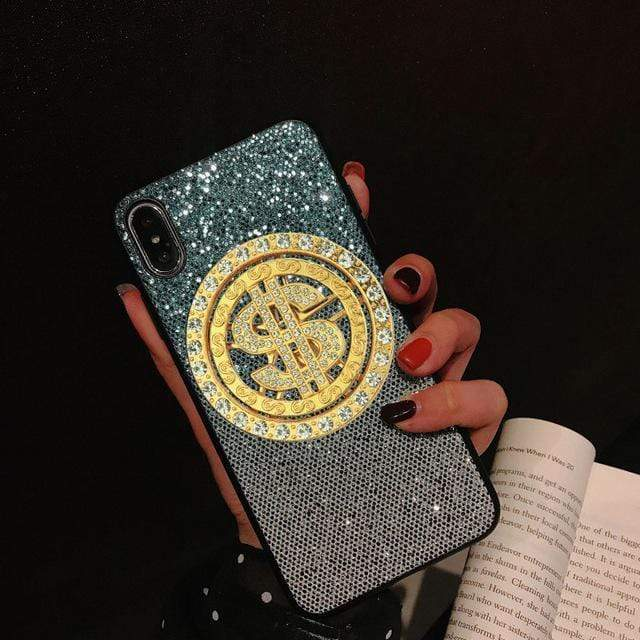 iPhone Case Bling Money Dollar Diamond Glitter Gradient Silicone iPhone Case