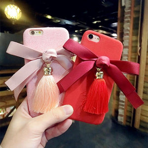 iPhone Case Bow Tie Ribbon Tassels Pendant Soft Silicone TPU Designer iPhone Case