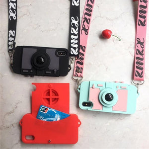 iPhone Case Camera Purse Card Holder Wallet Silicone Designer iPhone Case Strap