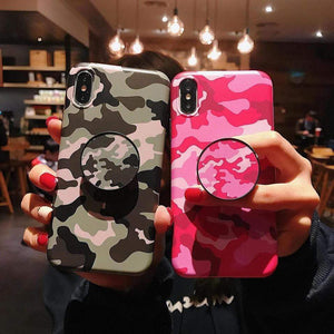 iPhone Case Camouflage Army Pink Matte Silicone Designer iPhone Case Pop Socket