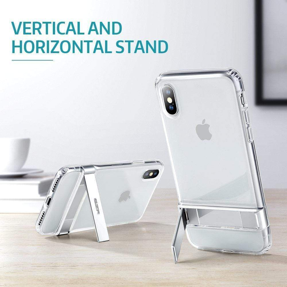 iPhone Case Crystal Clear Metal Kickstand Case Vertical and Horizontal Stand Soft