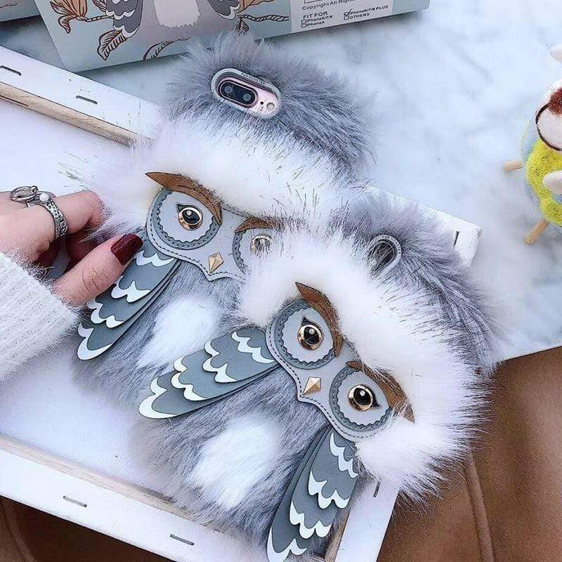 iPhone Case Cute 3D Plush Fur Owl Furry Soft TPU Silicone Designer iPhone Case
