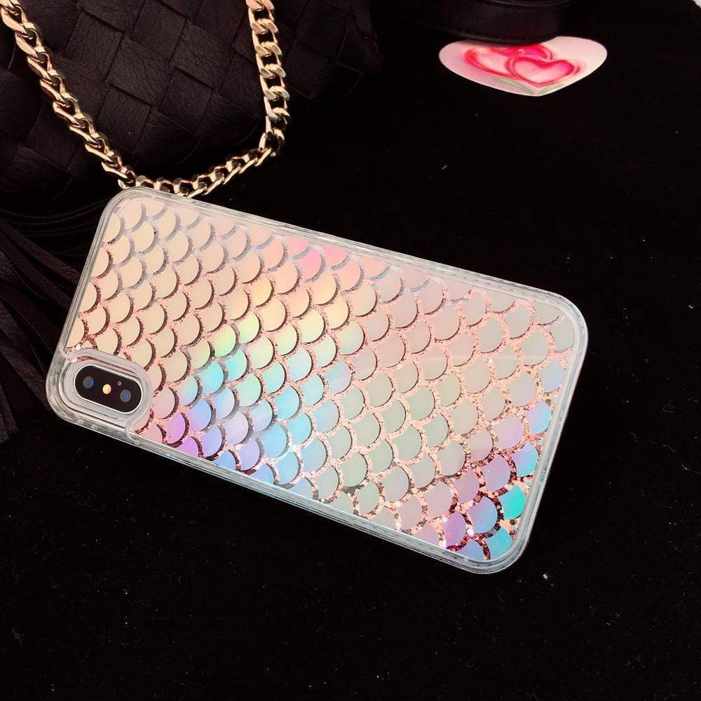 iPhone Case Cute Bling Glitter Quicksand Laser Mermaid Shinny Silicone iPhone Case