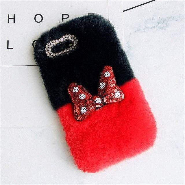 iPhone Case Cute Bow Tie Fluffy Mickey Mouse Style Rabbit Fur Designer iPhone Case