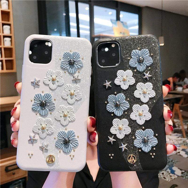 iPhone 11 Cute Floral Glitter Leather Designer iPhone Case For iPhone 11 Pro Max X XS XS Max XR 7 8 Plus
