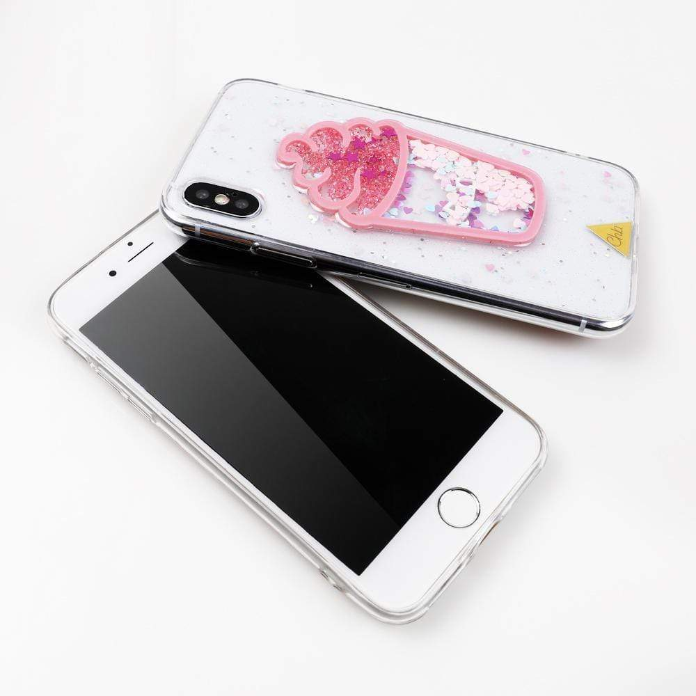 iPhone Case Cute Ice Cream Glitter Quicksand Transparent Protective iPhone Case Fo