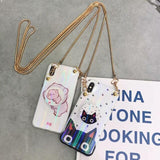 iPhone Case Cute Pig Cat Blue Ray Tempered Glass iPhone Case With Lanyard Strap Po