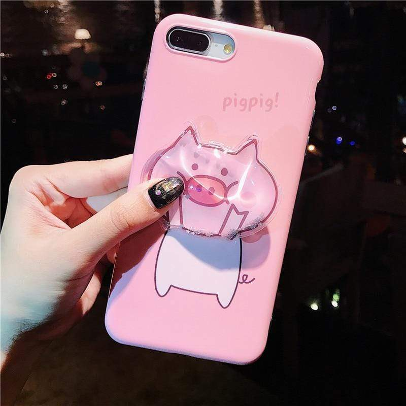 iPhone Case Cute Piggy Pink Liquid Glitter Quicksand Airbag Designer iPhone Case