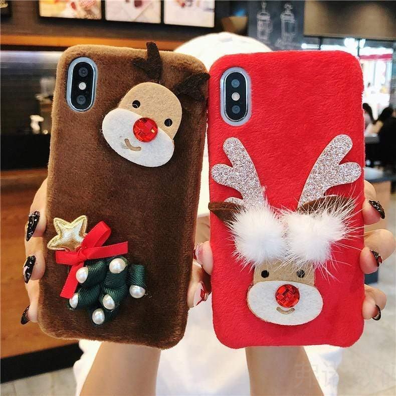 Iphone 11 Cute Plush Fluffy Christmas Case for iphone11 pro X XS MAX XR 8 7 6 plus Cover Santa Claus Tree Reindeer Fur Case New Year Gift