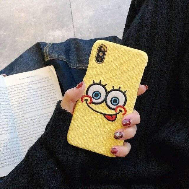 iPhone Case Cute SpongeBob Patrick Star Embroidery Silicone Designer iPhone Case