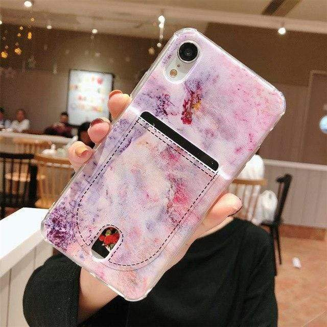 iPhone Case Fancy Marble Card Holder Wallet Stitch Airbag Silicone iPhone Case