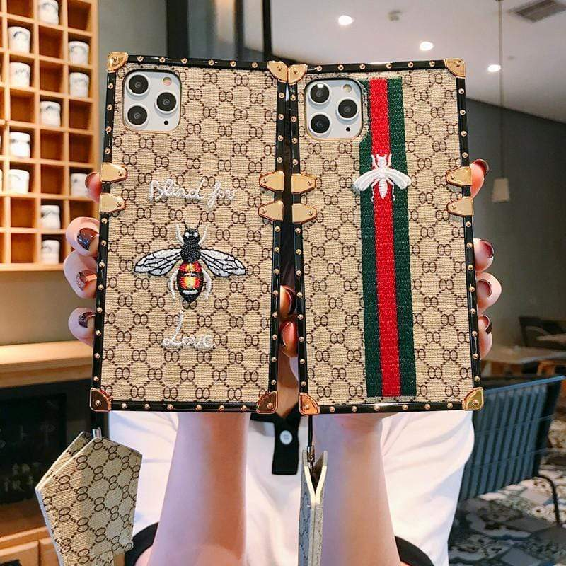 Iphone 11 Fashion Gucci Style Embroidery Bee Lanyard Designer iPhone Case For Iphone 11 Pro Max X XS XS MAX XR 7 8 Plus