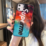 Iphone 11 Fashion Supreme Style Colorful Tempered Glass Designer iPhone Case For Iphone 11 Pro Max X XS XS MAX XR 7 8 Plus