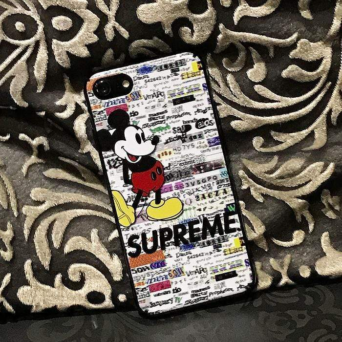 Iphone 11 Fashion Supreme Style Mickey Mouse Hard Shell Designer iPhone Case For Iphone 11 Pro Max X XS XS MAX XR 7 8 Plus