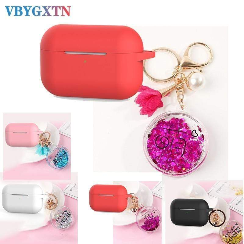AirPods Pro Case For Apple AirPods Pro case luxury quicksand Love heart / star drift keychain Accessories Silicone case Bluetooth Earphone Cover