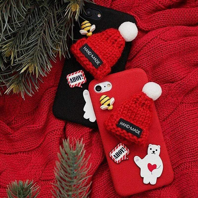 Iphone 11 For iPhone XR X Xs 11 Pro Max Santa Claus Soft Plush Christmas Hat phone Case iPhone 7 8 6 6S Plus Cartoon Snowman Phone Case