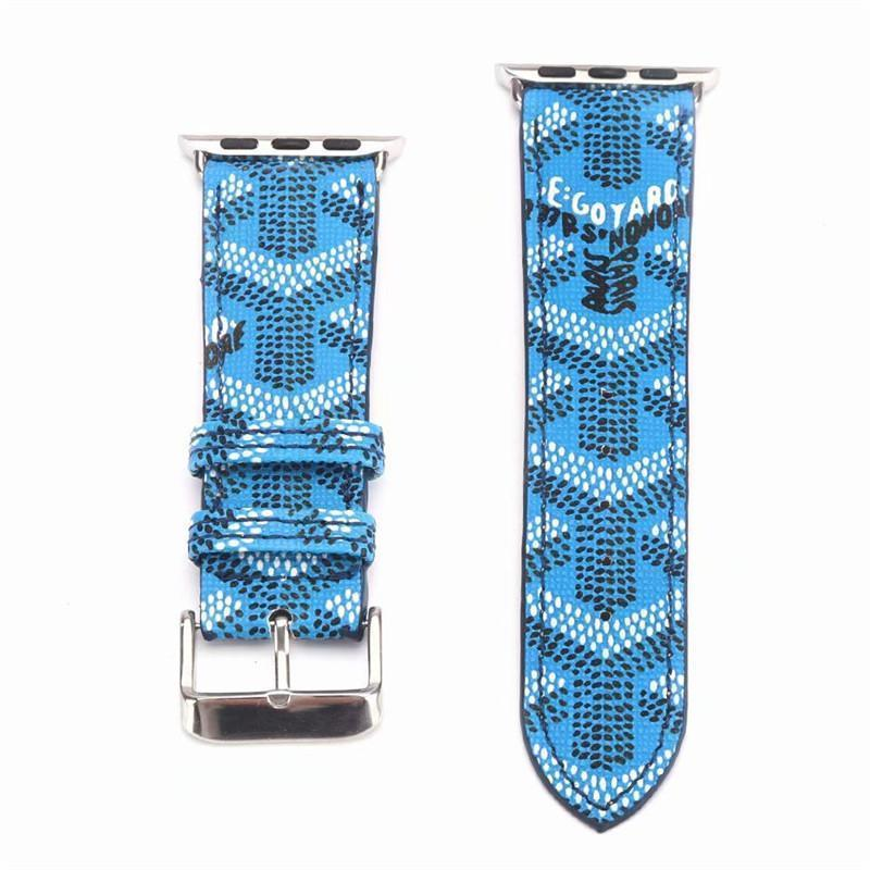 Watch Bands Goyard Style Leather Watch Bands For Apple Watch Series 4/3/2/1