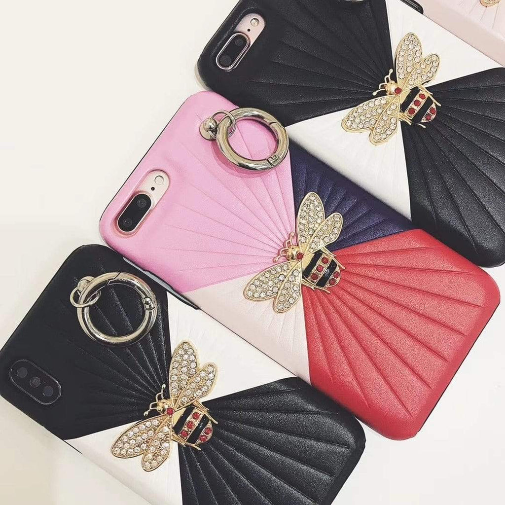 iPhone Case Gucci Style Bee Luxury Leather Ring Holder Designer iPhone Case