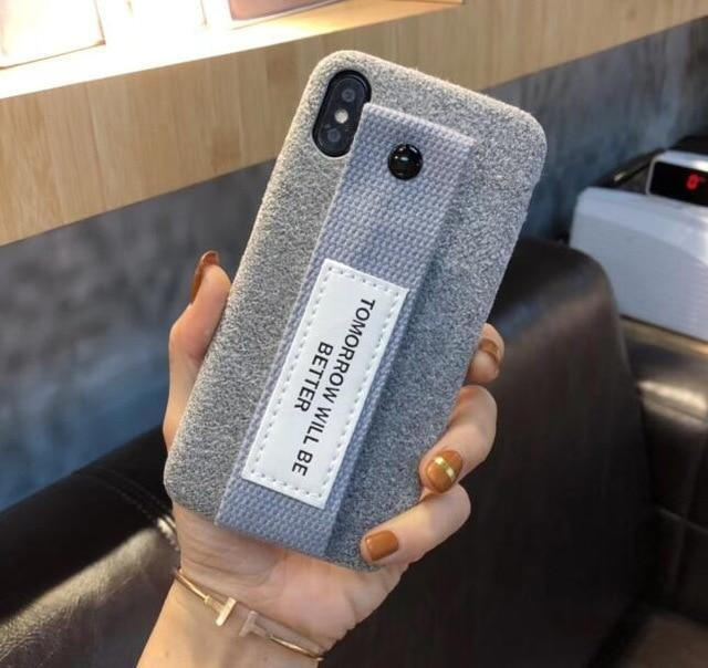 iPhone Case iPhone Xs max Case Woolen Soft Cloth Canvas Wristband Strap Lanyard Pr