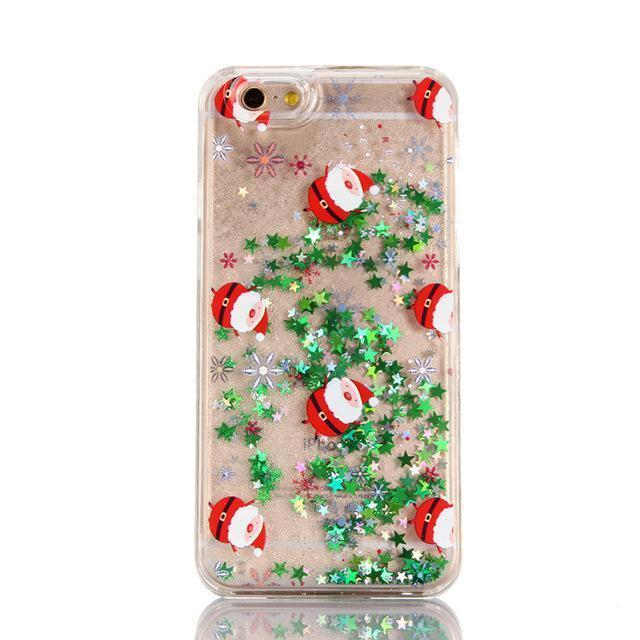 Iphone 11 IUENUA Christmas Phone Case For iPhone 11 Pro Max TPU Cover For iPhone X XS XR XS MAX 6 6S 7 8 Plus Glitter Liquid Cute Cases