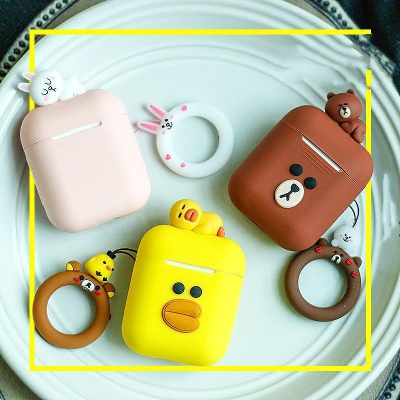 AirPods Case LINE FRIENDS Cute AirPods Silicone TPU Protective Case AirPods 1 2