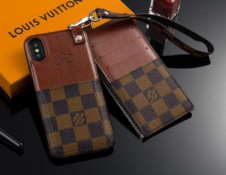iPhone Case Louis Vuitton Style Damier Leather Attached Cardholder iPhone Case For iPhone X XS XS Max XR 7 8 Plus