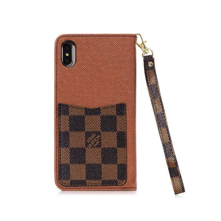 iPhone Case Louis Vuitton Style Damier Leather Wallet Designer iPhone Case For iPhone X XS XS Max XR 7 8 Plus